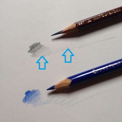 クロッキー帳(白紙)に三菱鉛筆uniの2B鉛筆で引いた線と、青い色鉛筆で引いた線。どちらも、濃淡のグラデーションとかすれ具合が美しく出ている。