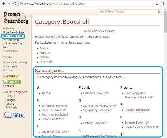 洋書の無料電子図書館Project Gutenbergで読みたい本をジャンルごとに探す方法を説明しているスクリーンショット。画面1(Book Categories」のリンクをクリックした後の画面)