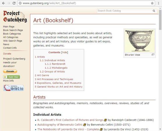 洋書の無料電子図書館Project Gutenbergで読みたい本をジャンルごとに探す方法を説明しているスクリーンショット。画面3(subcategoryの欄でArt bookshelfのリンクを開いた後の画面)