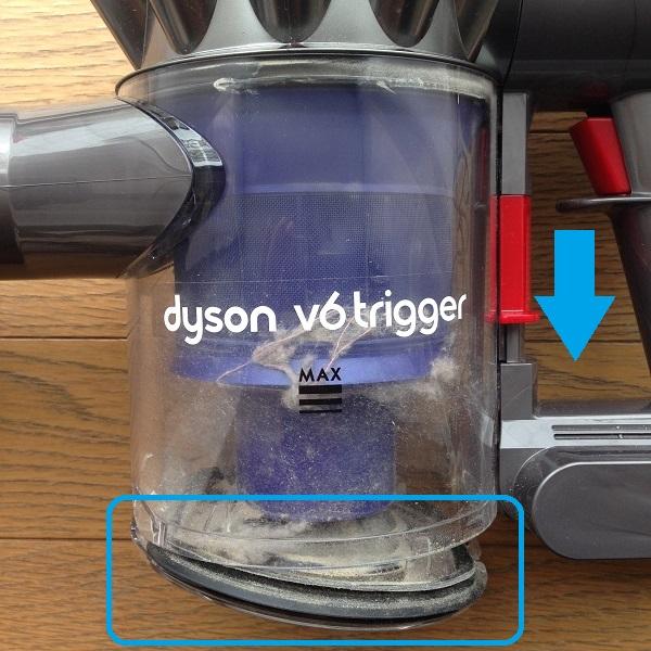 布団掃除機Dyson V6 Triggerのダストトレイを少し開いた状態で撮影した写真。赤いレバーを下向きに1度押すと、透明なダストトレイの底が抜けるようにしてトレイが開く。ダストトレイの中に埃が入っているのが見える